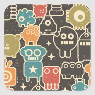 Robots on brown square sticker