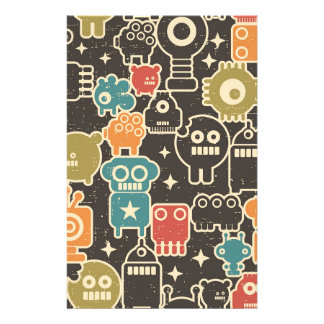 Robots on brown stationery