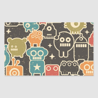 Robots on brown sticker