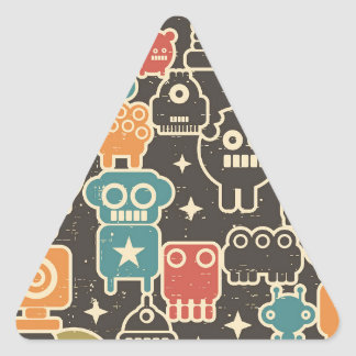 Robots on brown triangle sticker