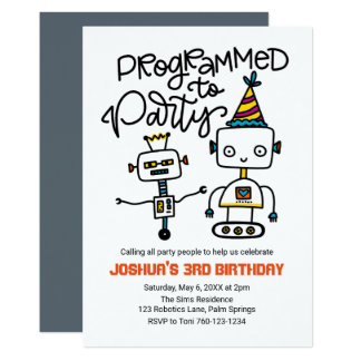 Robots, Programmed to Party Card