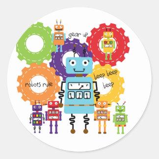 Robots Rule Classic Round Sticker