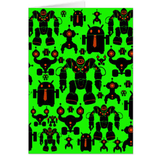 Robots Rule Fun Robot Silhouettes Lime Green Greeting Card