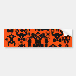 Robots Rule Fun Robot Silhouettes Orange Robotics Bumper Sticker