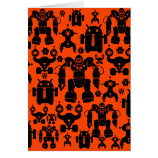 Robots Rule Fun Robot Silhouettes Orange Robotics Greeting Card