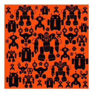 Robots Rule Fun Robot Silhouettes Orange Robotics Custom Invitation