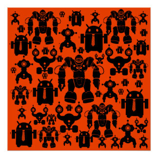 Robots Rule Fun Robot Silhouettes Orange Robotics Poster