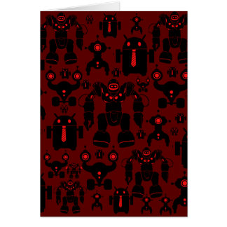 Robots Rule Fun Robot Silhouettes Red Robotics Greeting Card