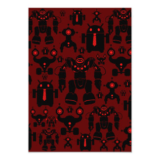Robots Rule Fun Robot Silhouettes Red Robotics 5x7 Paper Invitation Card