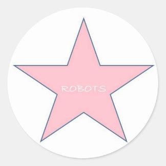 Robots Sticker-Pink Classic Round Sticker