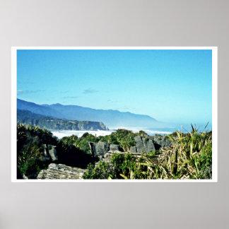 Roches de crêpe, Punakaiki, île du sud Affiche