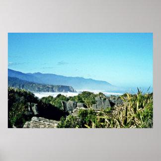 Roches de crêpe, Punakaiki, île du sud Affiches