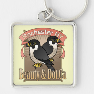 Rochester Beauty & Dot.Ca Silver-Colored Square Keychain