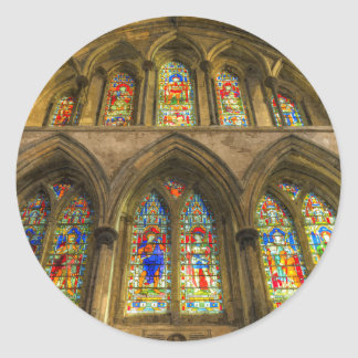 Rochester Cathedral Stained Glass Windows Art Classic Round Sticker
