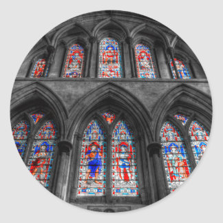 Rochester Cathedral Stained Glass Windows Classic Round Sticker