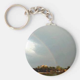 Rochester-Double-Rainbow Basic Round Button Keychain