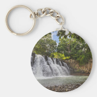 Rochester Falls waterfall in Souillac Mauritius Basic Round Button Keychain