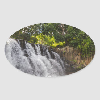 Rochester Falls waterfall in Souillac Mauritius Oval Sticker