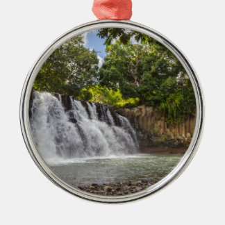 Rochester Falls waterfall in Souillac Mauritius Silver-Colored Round Ornament