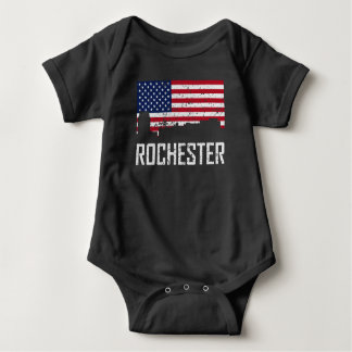 Rochester Minnesota Skyline American Flag Distress Baby Bodysuit