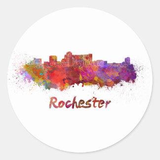 Rochester MN skyline in watercolor Classic Round Sticker