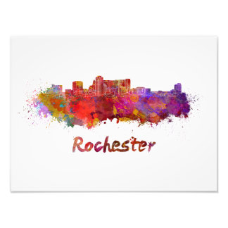 Rochester MN skyline in watercolor Photo Print