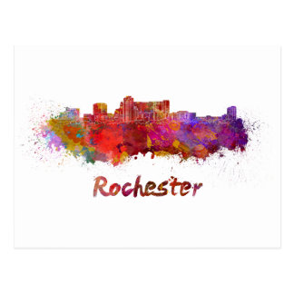 Rochester MN skyline in watercolor Postcard