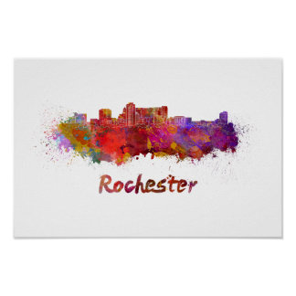 Rochester MN skyline in watercolor Poster