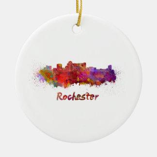 Rochester MN skyline in watercolor Round Ceramic Ornament