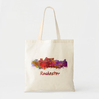 Rochester MN skyline in watercolor Tote Bag