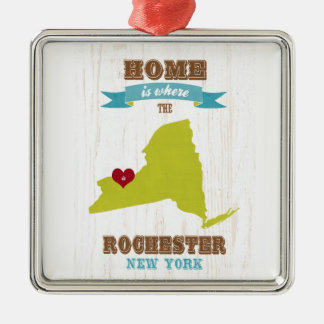 Rochester, New York Map – Home Is Where The Heart Silver-Colored Square Ornament