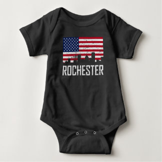 Rochester New York Skyline American Flag Distresse Baby Bodysuit