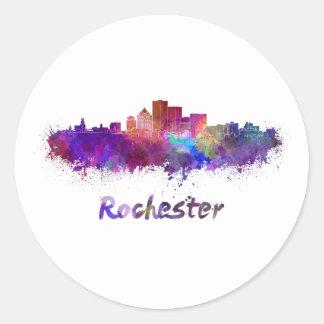 Rochester skyline in watercolor classic round sticker