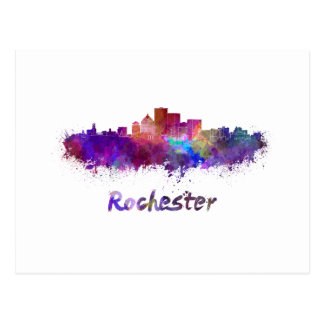 Rochester skyline in watercolor postcard