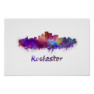 Rochester skyline in watercolor poster