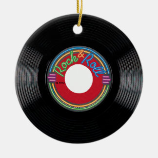 Rock and Roll 45 Record Ceramic Ornament