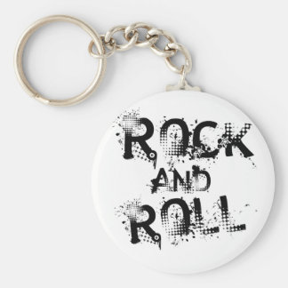 Rock and Roll Basic Round Button Keychain