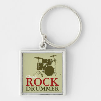 rock and roll drummer keychain
