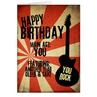 Rock And Roll Grunge Birthday Card