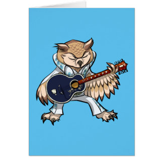 Rock and Roll Guitar Owl in Jumpsuit Cartoon Card