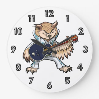 Rock and Roll Guitar Owl in Jumpsuit Cartoon Large Clock