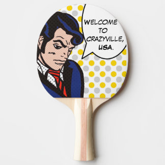 Rock and Roll Man Pop Art Ping Pong Paddle