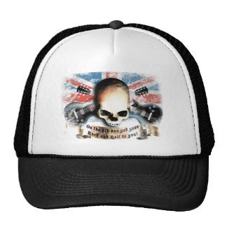 rock and roll skull flag and guitars trucker hat