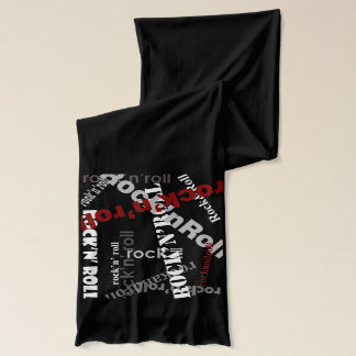 rock and roll typography pattern scarf