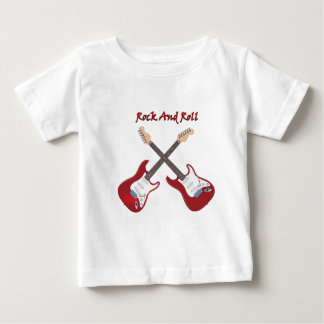 Rock and roll with two white base guitars baby T-Shirt