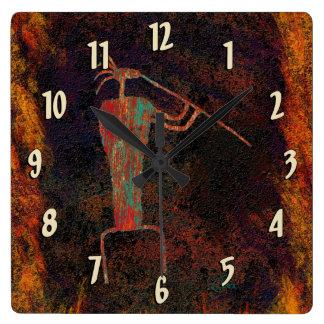 Rock Art Flute Player Square Wall Clock