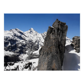 Rock at the Schilthorn mountain Poster