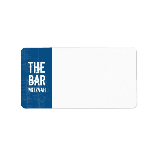 Rock Band Bar Mitzvah Address Label in Blue