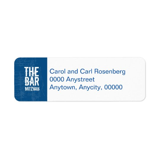 Rock Band Bar Mitzvah Return Address in Blue