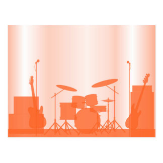 Rock Band Equipment On Stage Postcard